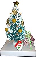 Ель искусственная Merry Bear Настольная зеленая украшенная с подсветкой L55-F1282B/2 (21см) -