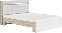 Двуспальная кровать Сакура №16М 160 (шимо светлый/белый глянец) -