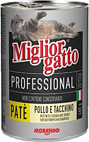 Корм для кошек Miglior Gatto Professional Pate Chicken&Turkey (400г) -