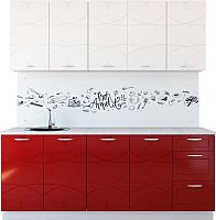 Готовая кухня Артём-Мебель Оля МДФ СН-114 1.8 без стекла (глянец белый/бордовый) -