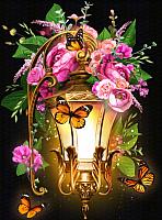 Набор алмазной вышивки Алмазная живопись Фонарь в шиповнике / АЖ-1723 -