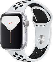 Умные часы Apple Watch Series 5 GPS 40mm / MX3R2 (алюминий серебристый/чистая платина, черный) -