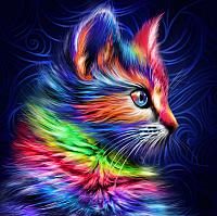 Набор алмазной вышивки Алмазная живопись Разноцветный котенок / АЖ-1777 -