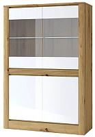 Шкаф с витриной Anrex Riche 2V2D (дуб артисан/белый глянец) -