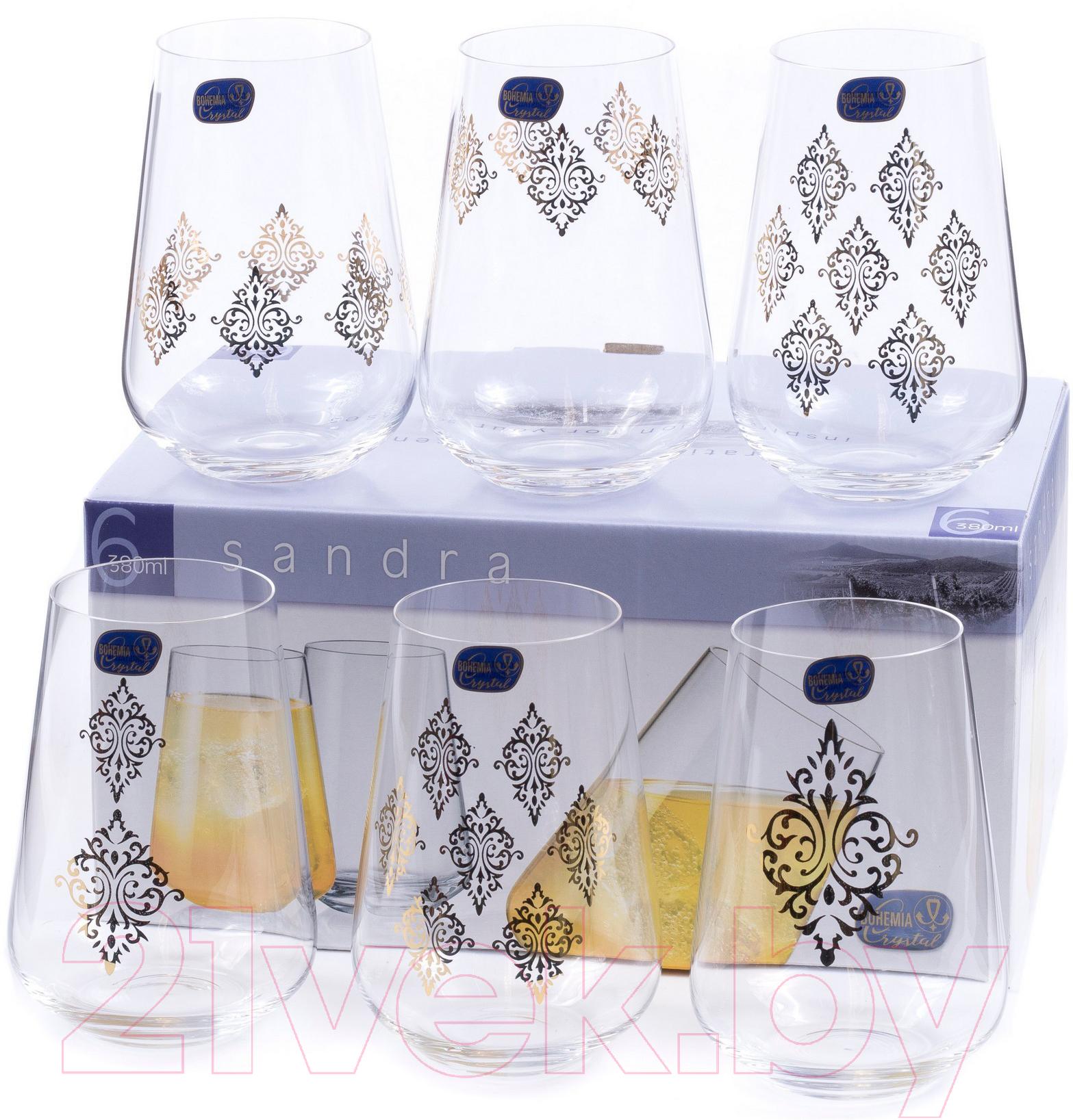 Купить Набор стаканов Bohemia, Crystal Sandra 23013/S1387/380 (6шт), Чехия, стекло
