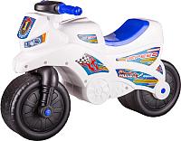 Каталка детская Альтернатива Мотоцикл / М6724 (белый) -