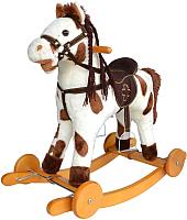 Качалка-каталка Pituso Fandango Лошадка / GS2090W (белый/коричневый, с колесами) -