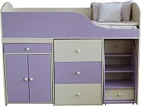 Кровать-чердак Можга Р430-КФ (кремовый/фиолетовый) -