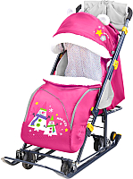 Санки-коляска Ника Детям 7-6 New (снеговик розовый) -