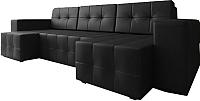 Диван П-образный Настоящая мебель Гессен НПБ экокожа (черный) -