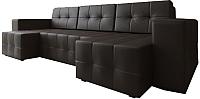 Диван П-образный Настоящая мебель Гессен НПБ экокожа (коричневый) -