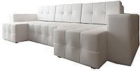 Диван П-образный Настоящая мебель Гессен НПБ экокожа (белый) -