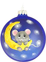 Елочная игрушка Грай Мышка на луне ШБ100-35 (синий) -