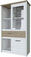 Шкаф с витриной Anrex Provence 1V1D1S3N (вудлайн кремовый/дуб каньон) -