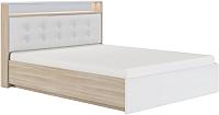 Двуспальная кровать Сакура Виктория №16.1ПМ с ПМ 160 (шимо светлый/белый глянец) -