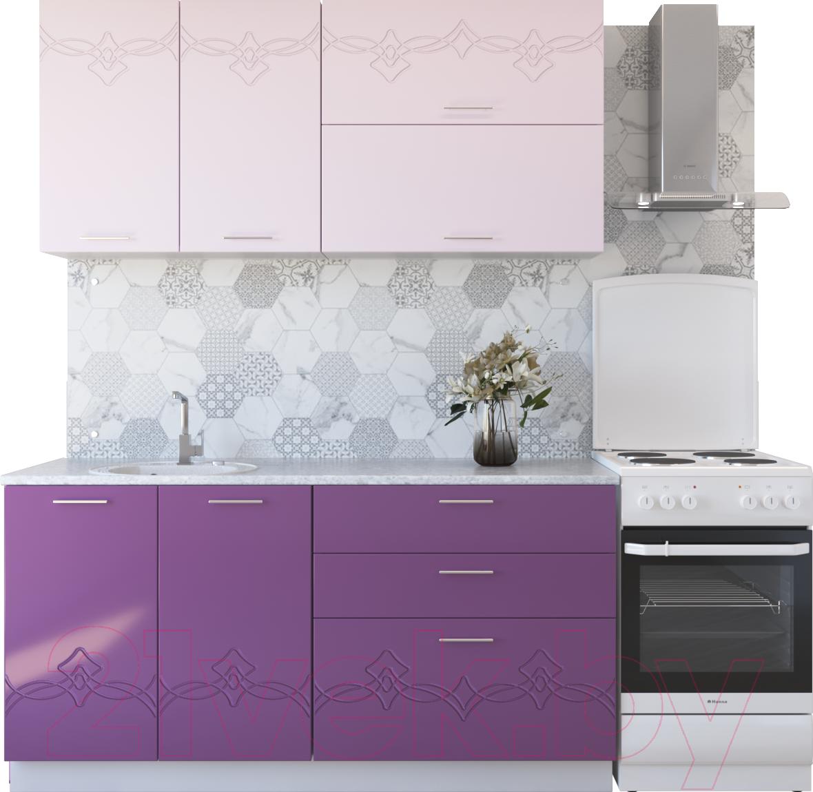 Купить Готовая кухня Артём-Мебель, Адель СН-114 без стекла 1.4м (глянец розовый металлик/сирень металлик), Беларусь