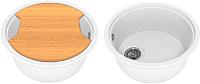Мойка кухонная KitKraken Duo Lake O-510.2B + разделочная доска (белый) -