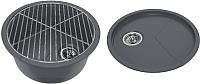 Мойка кухонная KitKraken Duo Spring C-510 + решетка (графит) -