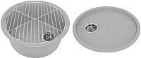 Мойка кухонная KitKraken Duo Spring C-510 + решетка (серый) -
