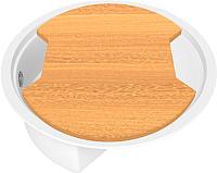 Мойка кухонная KitKraken Stream C-510M + разделочная доска (белый) -