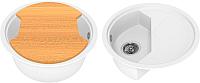 Мойка кухонная KitKraken Duo Stream C-510M + разделочная доска (белый) -