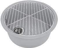 Мойка кухонная KitKraken Lake O-510 + решетка (серый) -