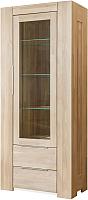 Шкаф с витриной Stanles Фьорд 1 (отбеленный дуб) -