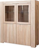 Шкаф с витриной Stanles Фьорд 4 (отбеленный дуб) -