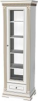 Шкаф с витриной WellMaker Патриция Элегант ШП1-60 (альпийский/латунь) -