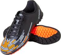 Бутсы футбольные Atemi SD400 TURF (черный/оранжевый/серый, р-р 32) -