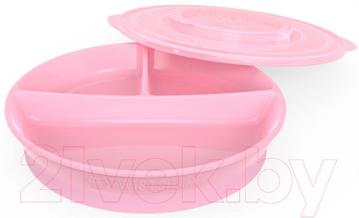 Тарелка для кормления Twistshake, Divided Plate / 78169 (розовый), Швеция, пластик  - купить со скидкой
