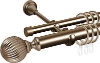 Карниз для штор АС ФОРОС Grace D25Г/16Г составной + наконечники Орион (2.8м, антик) -
