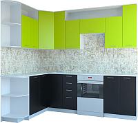 Готовая кухня Артём-Мебель Виола СН-114 ДСП 2.6 Левая (лайм/черный) -