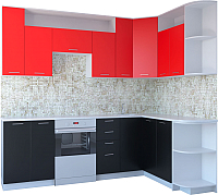 Готовая кухня Артём-Мебель Виола СН-114 ДСП 2.6 Правая (красный/черный) -