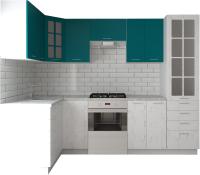 Готовая кухня Артём-Мебель София СН-114 со стеклом МДФ 1.4x2.7 (морская волна/дуб полярный) -