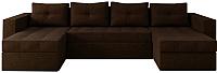 Диван П-образный Настоящая мебель Константин НПБ рогожка (коричневый) -