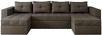 Диван П-образный Настоящая мебель Константин НПБ рогожка (серый) -