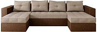 Диван П-образный Настоящая мебель Константин НПБ рогожка (коричневый/бежевый) -