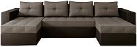 Диван П-образный Настоящая мебель Константин НПБ экокожа/рогожка (черный/серый) -
