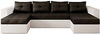 Диван П-образный Настоящая мебель Константин НПБ экокожа (белый/черный) -