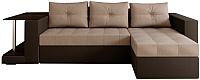 Диван угловой Настоящая мебель Константин НПБ со столиком экокожа/рогожка правый (черный/бежевый) -