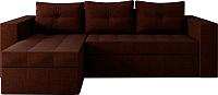 Диван угловой Настоящая мебель Константин НПБ рогожка левый (коричневый) -