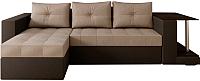 Диван угловой Настоящая мебель Константин НПБ экокожа/рогожка левый (коричневый/бежевый) -