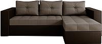 Диван угловой Настоящая мебель Константин НПБ экокожа/рогожка правый (черный/серый) -