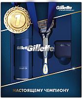 Набор косметики для бритья Gillette Станок Fusion+1 кассета+гель д/бритья д/чувств. кожи 75мл+чехол -