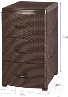 Комод пластиковый Violet Ротанг / 035601 (коричневый) -