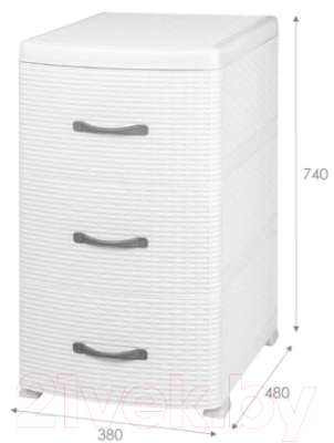 Комод пластиковый Violet Ротанг / 035606 (белый) -