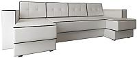 Диван П-образный Настоящая мебель Принстон НПБ экокожа (белый) -