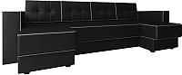 Диван П-образный Настоящая мебель Принстон НПБ экокожа (черный) -