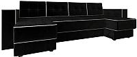 Диван П-образный Настоящая мебель Принстон НПБ вельвет (черный) -